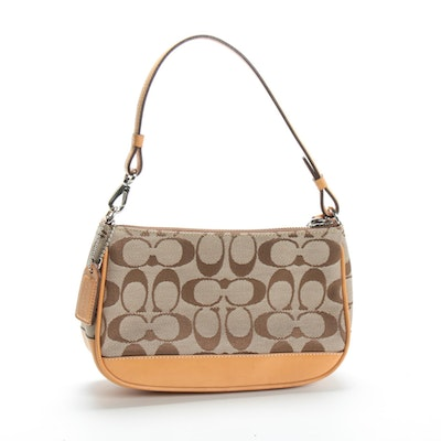 Coach Signature Demi Canvas and Leather Handbag