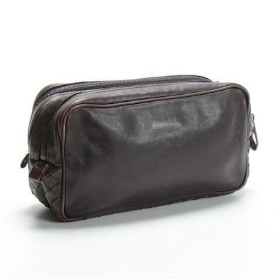 Bottega Veneta Accessory Pouch in Brown Intrecciato and Grained Leather