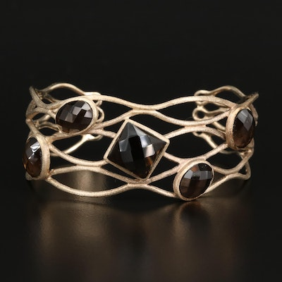 Sterling Smoky Quartz Openwork Cuff