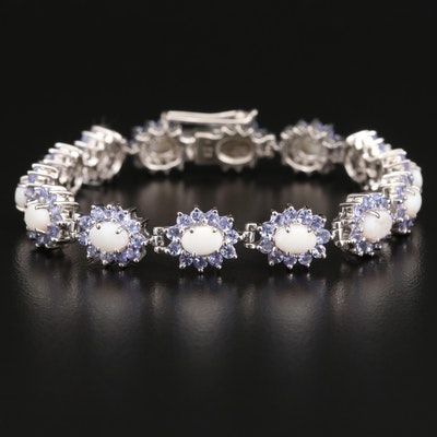 Sterling Opal and Tanzanite Halo Bracelet