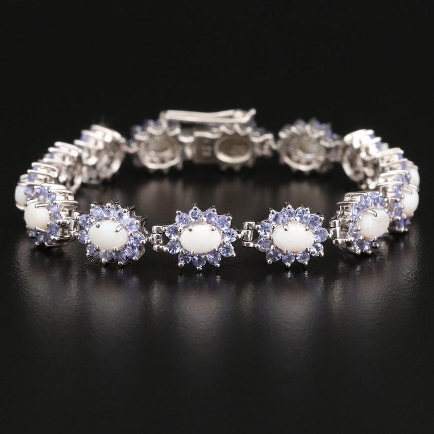 Sterling Opal and Tanzanite Halo Bracelet