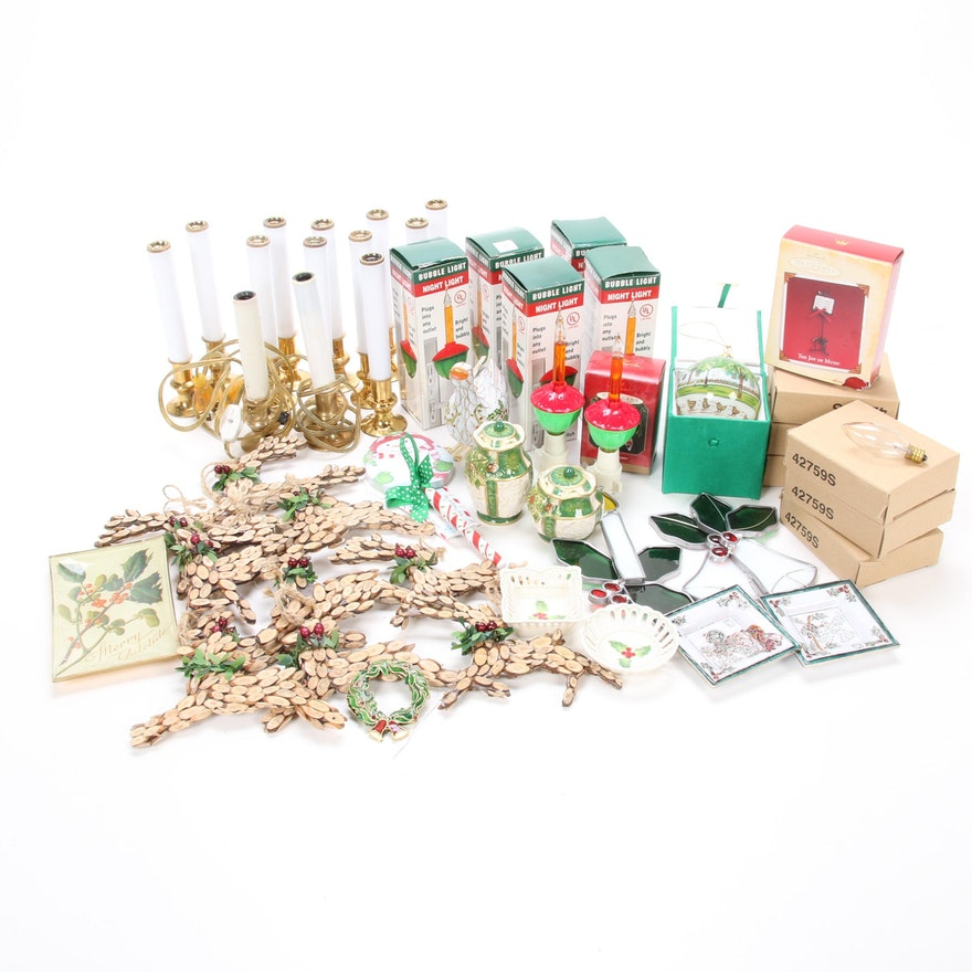 Christmas Ornaments, Bubble Lights and Other Decorations