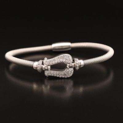 Sterling Silver Cubic Zirconia Buckle Motif Bracelet