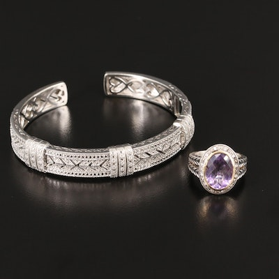 Sterling Silver Amethyst and Diamond Ring with 14K Accent and Diamond Cuff