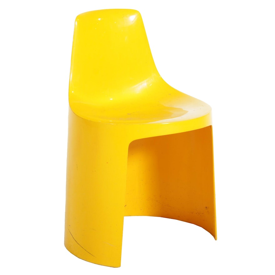 Modernist Yellow Plastic Stacking Child's Chair