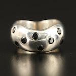 Laurent Legér 950 Silver Black Onyx Wide Contour Ring