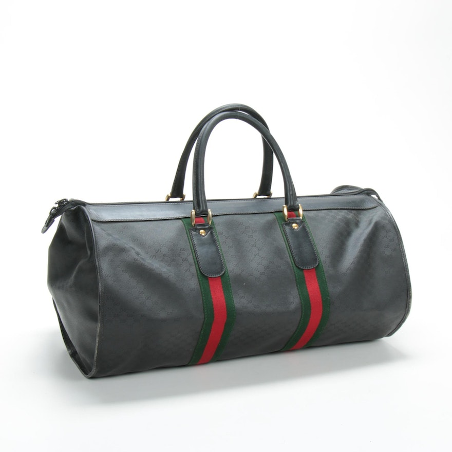Gucci Web Line Duffel in Micro GG Supreme Canvas and Leather