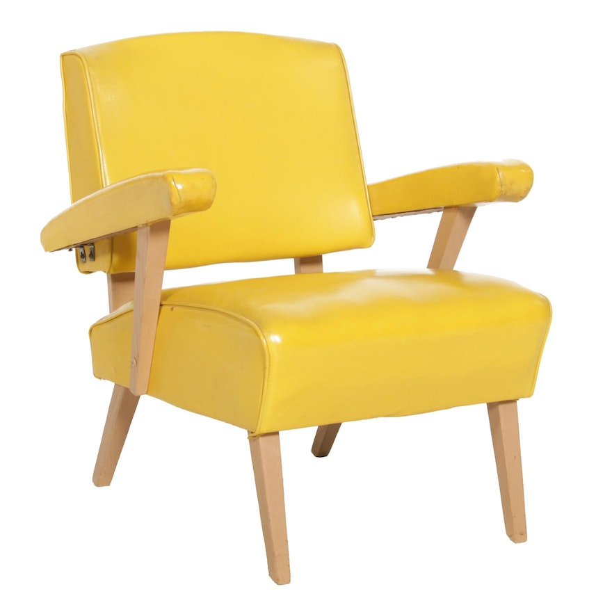 Viking Artline Mid Century Modern Yellow Vinyl and Wood Armchair