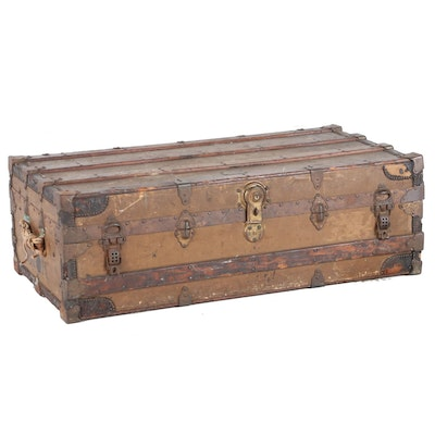 Winship of Boston Oak and Metal Steamer Trunk, Early 20th Century