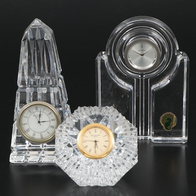 "Waterford Crystal ""Lismore"" Diamond and Other Desk Clocks"