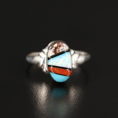 Artist Signed Sterling Turquoise, Coral and Opal Inlay Ring