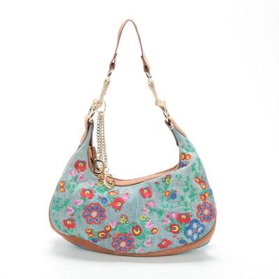 Dolce & Gabbana Floral Embroidered Shoulder Bag in Distressed Denim and Leather