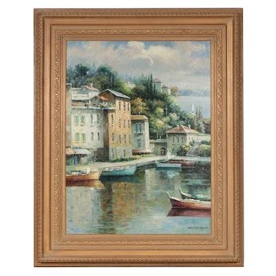 Coastal Village Harbor Copy Oil Painting after Walter Samuel, Late 20th Century