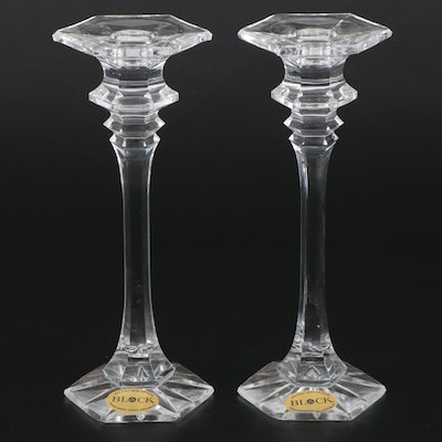 Pair of Block Crystal Handmade Candlesticks