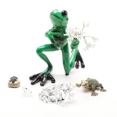Waterford, Swarovski Crystal and Other Frog Themed Figurines