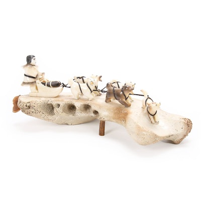 Mary L. Seppilu Native Alaskan Carved Walrus Bone and Ivory Dog Sled