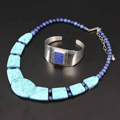 Desert Rose Trading Turquoise and Lapis Lazuil Necklace with Sterling Cuff