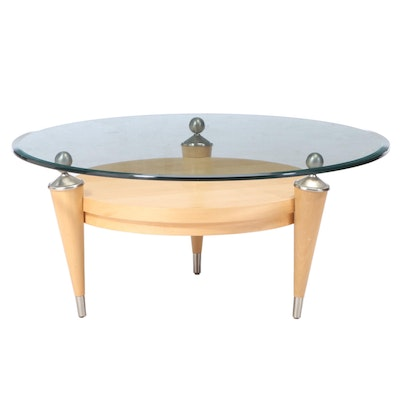 Lane Contemporary Modern Glass Top Coffee Table