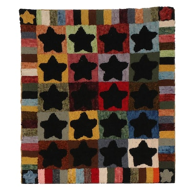 Hand-Hooked Star and Block Pattern Wool Rug, Mid to late 20th Century