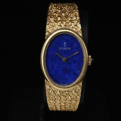 Vintage 18K Corum Lapis Lazuli Dial Stem Wind Wristwatch