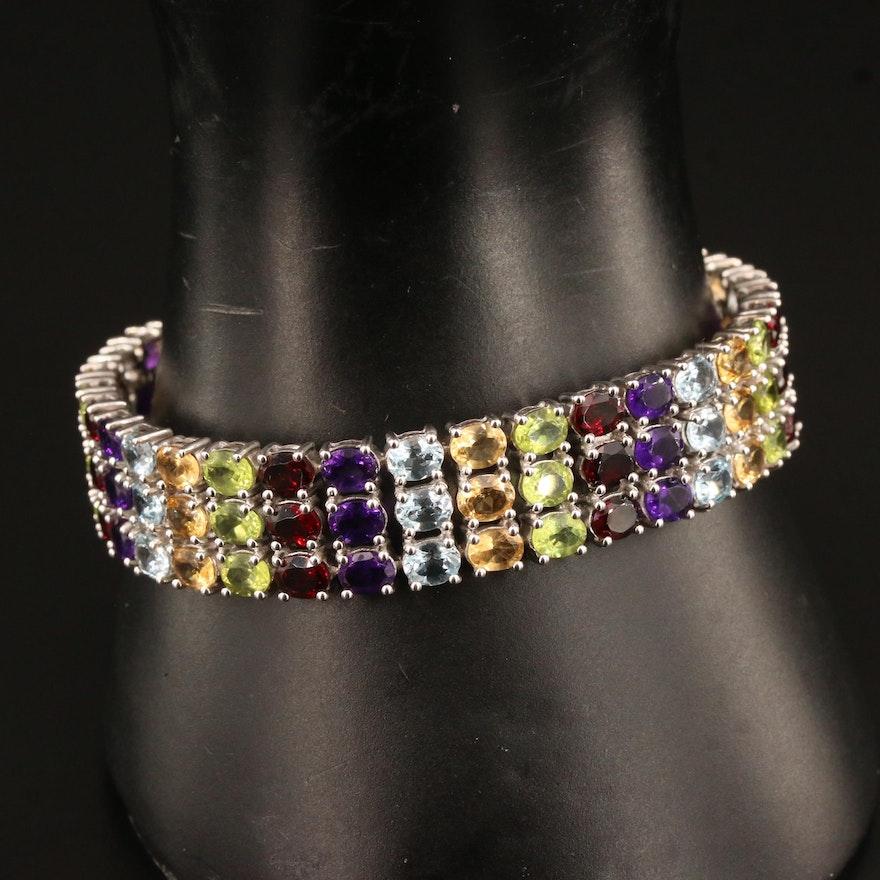 Sterling Silver Multi-Gemstone Three Row Link Bracelet