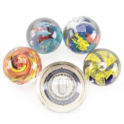 Punch Studio and Other Art Glass Swirl and Flower Paperweights