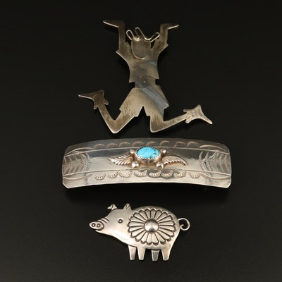 Southwestern Sterling Silver Jewelry Featuring Allison Snowhawk Lee Pig Brooch
