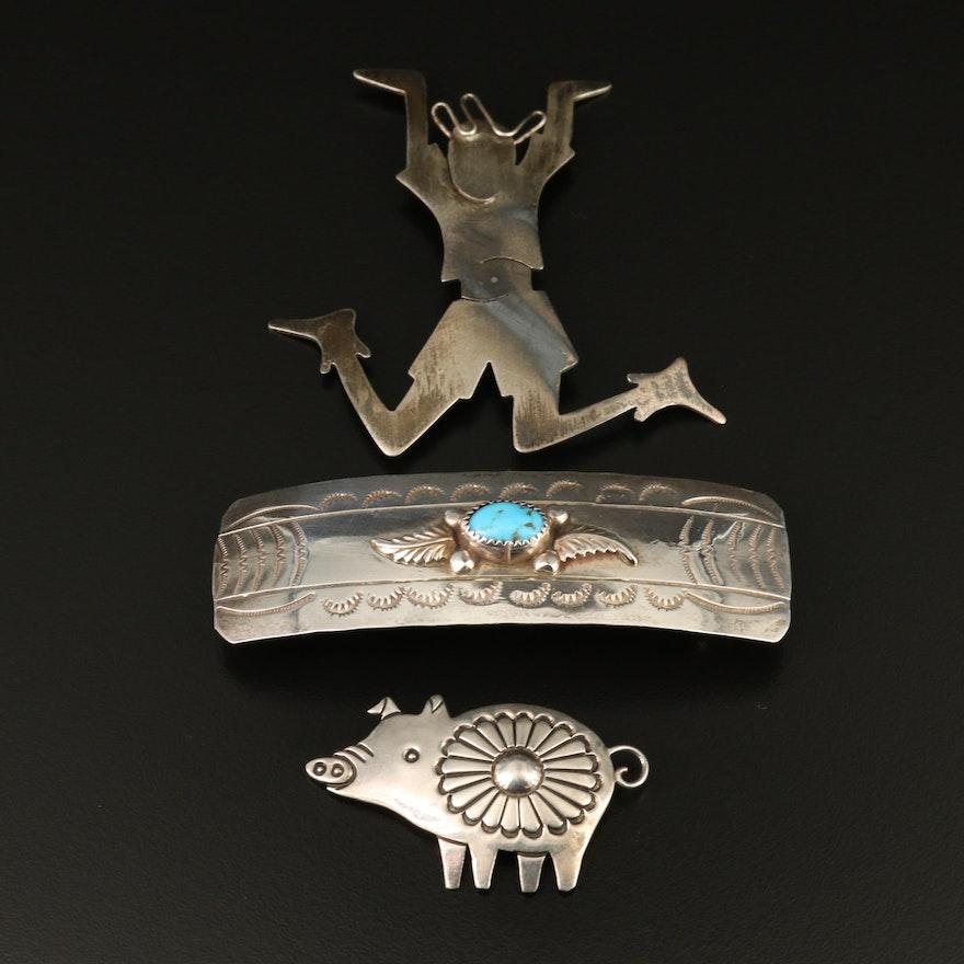 Southwestern Sterling Silver Jewelry Featuring Allison Snowhawk Lee Pig Brooch
