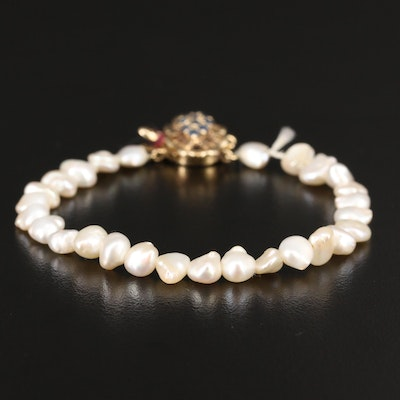 Baroque Pearl Beaded Bracelet with 14K Sapphire Clasp
