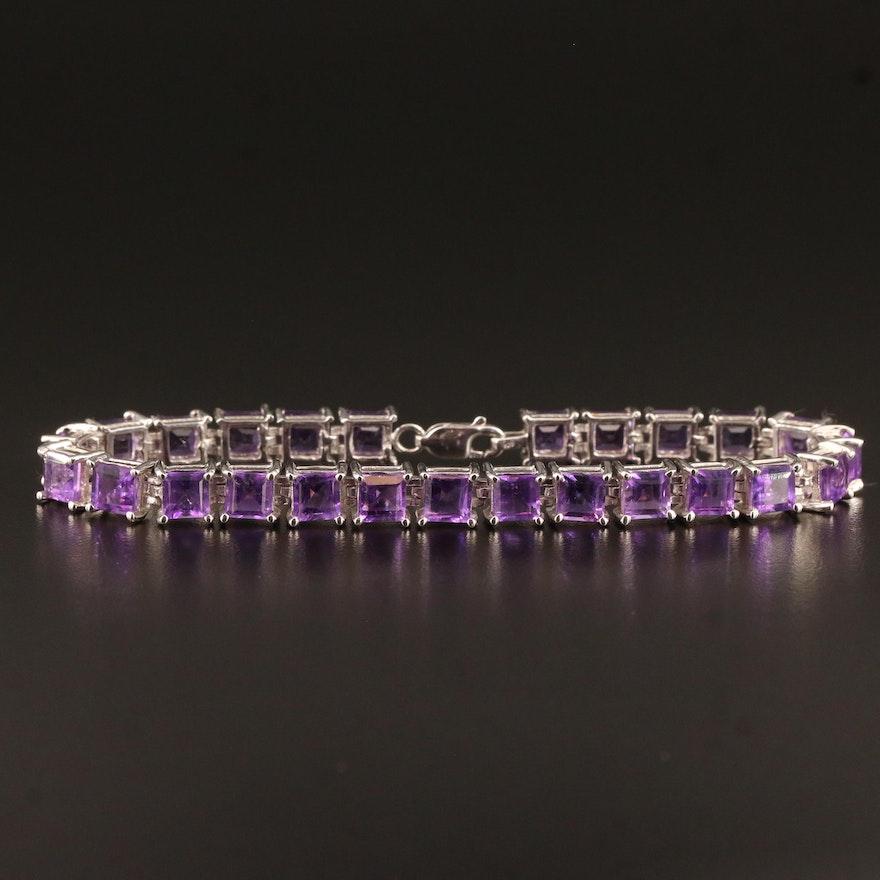 Sterling Silver Amethyst Link Bracelet