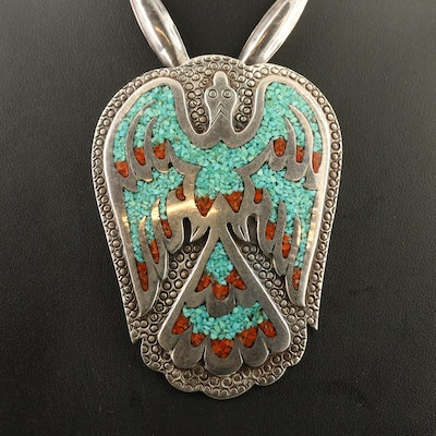 Western Thunderbird Pendant Necklace Featuring Chip Turquoise and Chip Coral