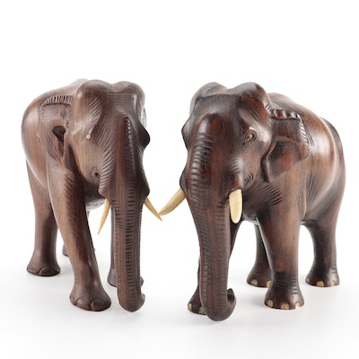 Wood Carved Bone Inlaid Elephant Figurines