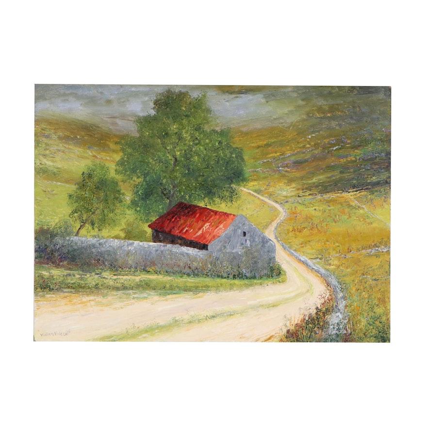 William Vincent Landscape Impasto Oil Painting