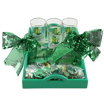 Irish Clan O'Connor old Fashioned Glasses and St. Patrick's Day Decorations