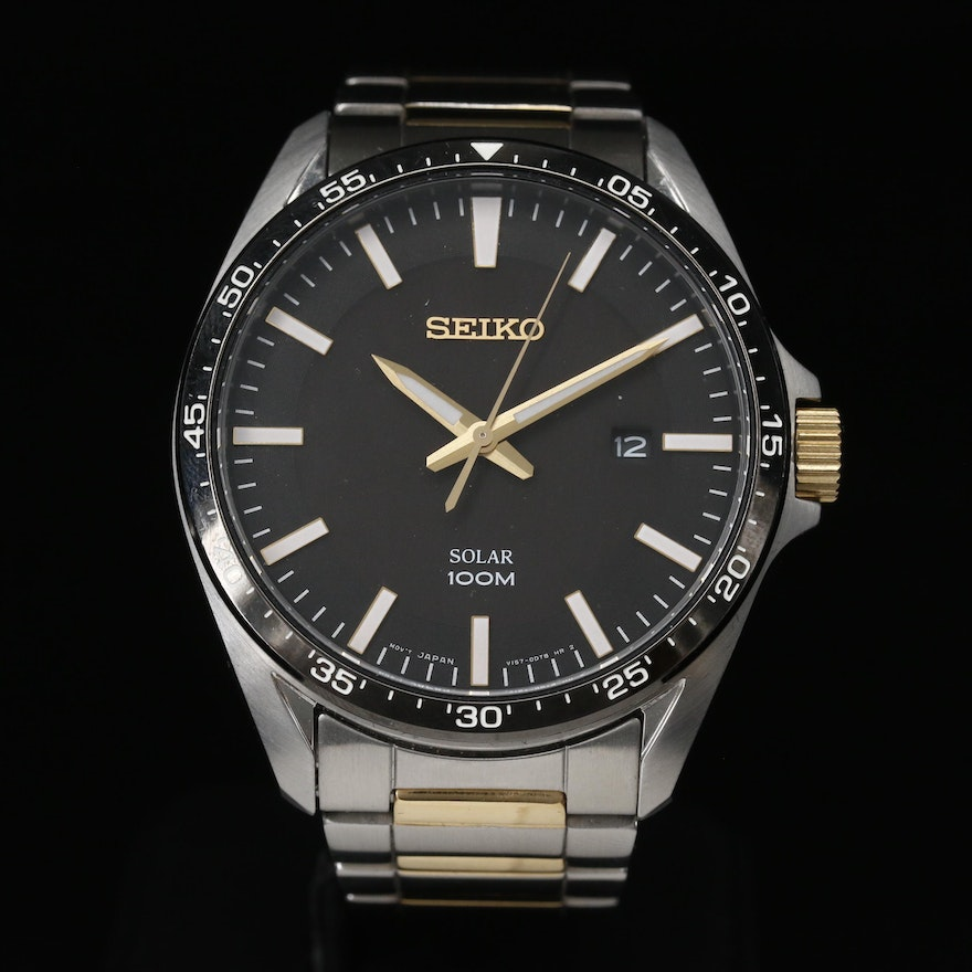 """Seiko """"Solar"""" 100 Meters with Date Stainless Steel Wristwatch"""