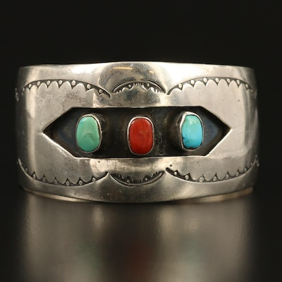 Western Sterling Silver Turquoise and Coral Cuff