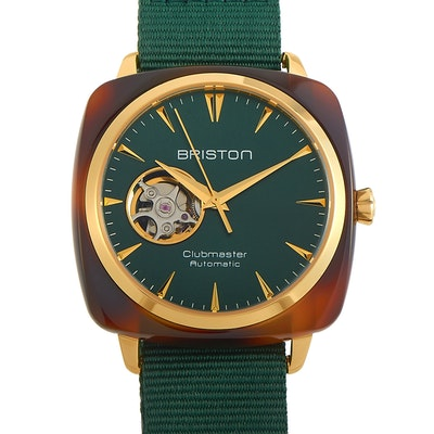 Briston Clubmaster Iconic Acetate Gold Dark Green Dial Watch