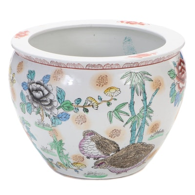Chinese Hand-Colored Ceramic Jardinière