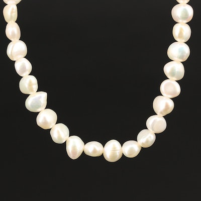 Semi-Baroque Pearl Strand Necklace with 14K Clasp