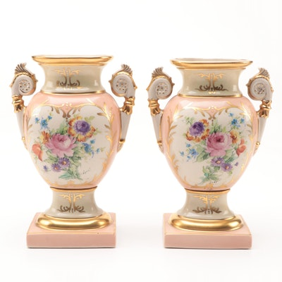 Pair of Floral Hand Painted Mantel Urns, Early to Mid 20th Century