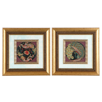 Machine Embroidered Decorative Textile of Bird Imagery
