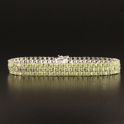 Sterling Silver Peridot Three Row Link Bracelet