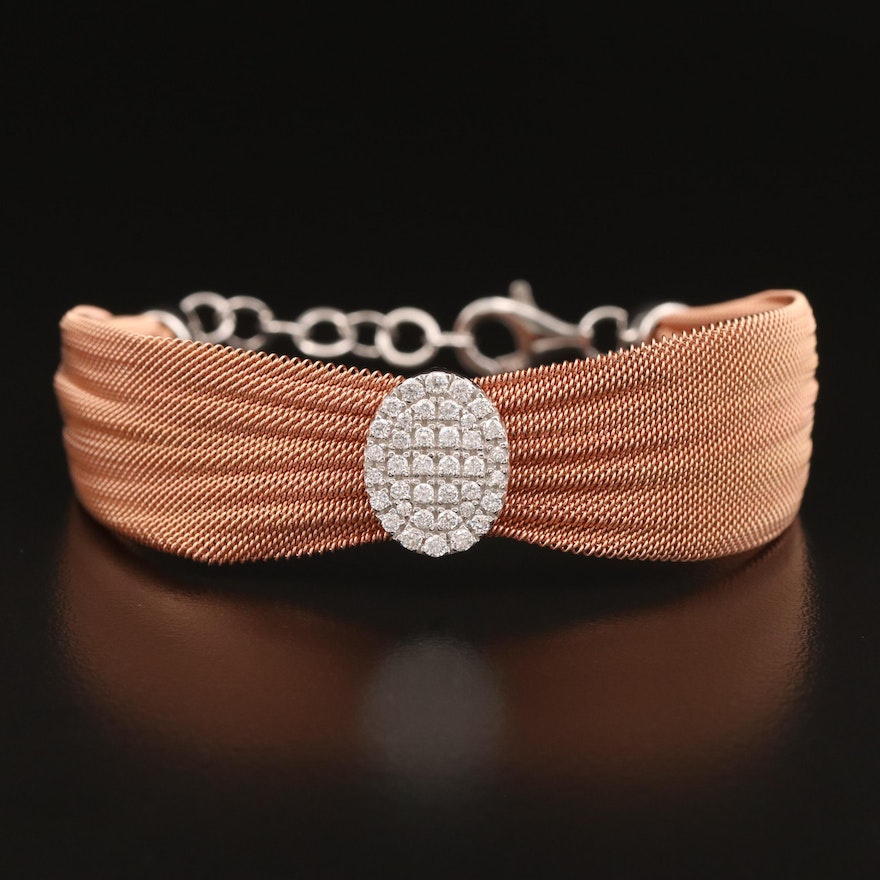 Sterling Silver Cubic Zirconia Cinched Mesh Bracelet