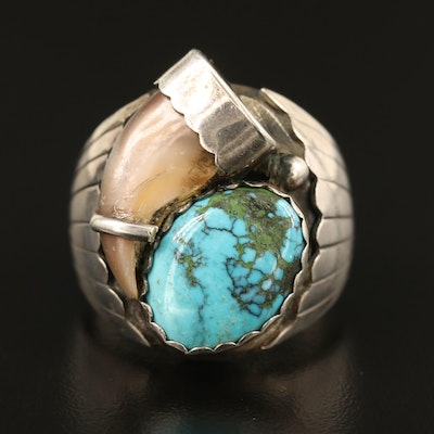 Southwestern Sterling Silver Turquoise and Bobcat Claw Ring