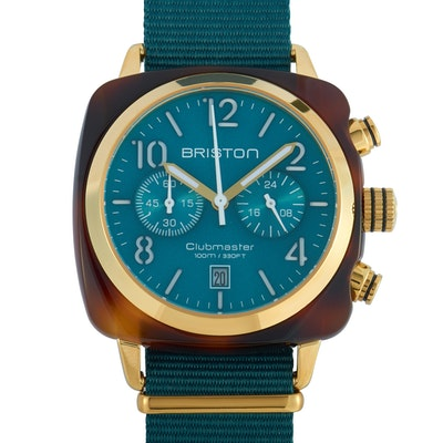 Briston Clubmaster Classic Acetate Gold Emerald Green Dial Watch