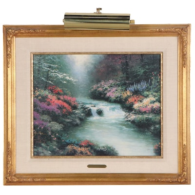"""Thomas Kinkade Embellished Offset Lithograph """"Beside Still Waters"""""""