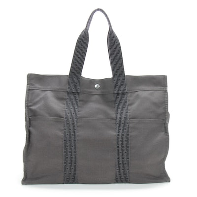 Hermès Paris Herline GM Tote in Black/Grey Canvas