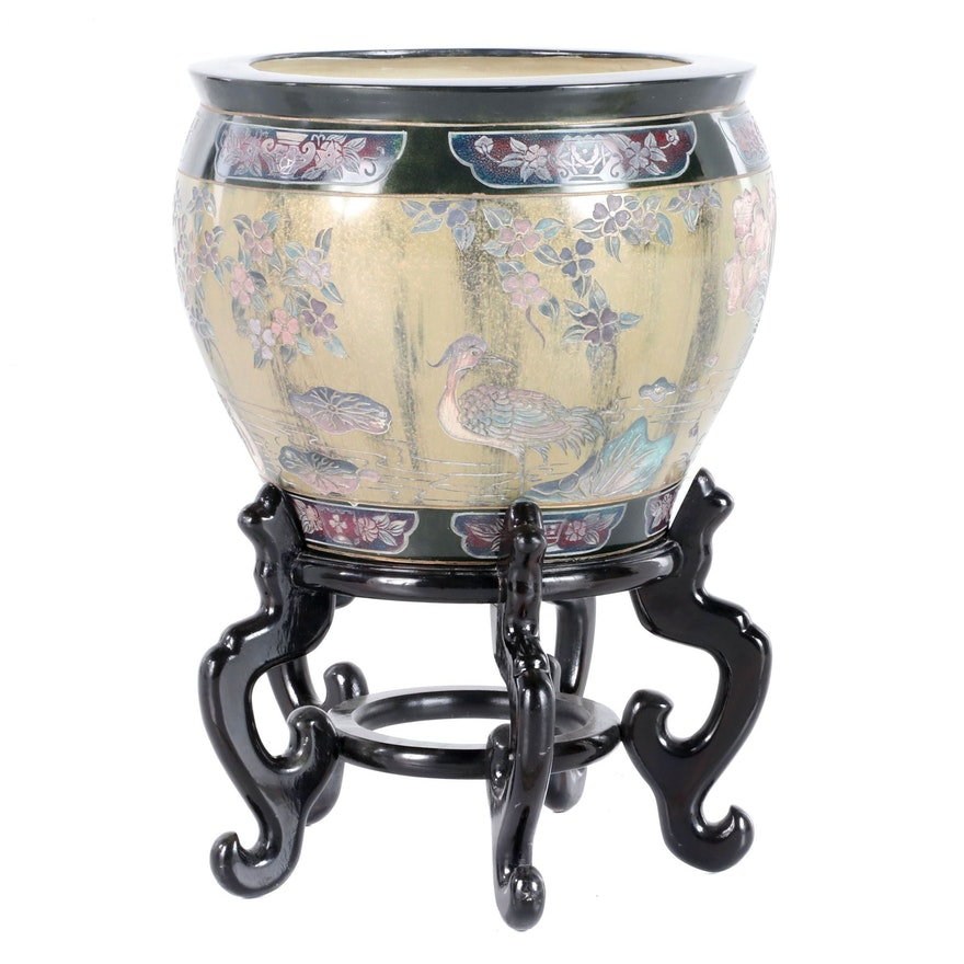 Chinese Hand-Decorated Ceramic Planter with Wood Stand