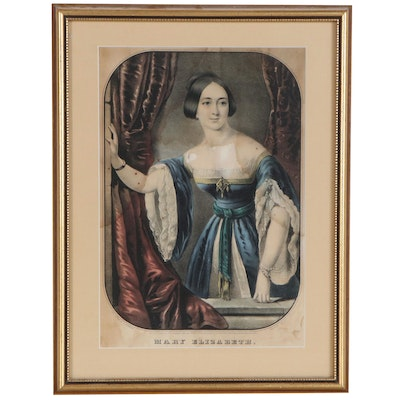 "Nathaniel Currier Hand-Colored Lithograph ""Mary Elizabeth"", 1846"