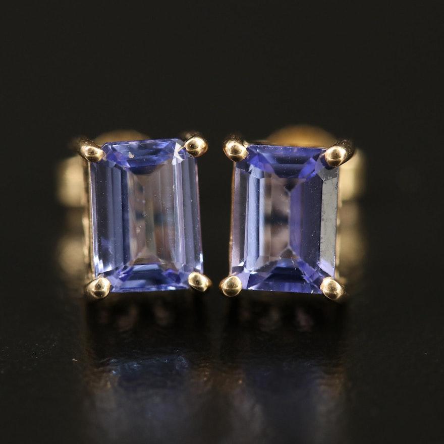 9K Tanzanite Stud Earrings